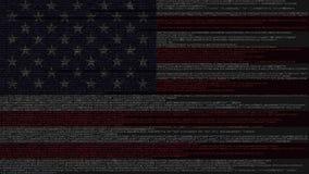Исходный код и флаг Соединенных Штатов Технология American Digital или программируя родственный перевод 3D иллюстрация штока