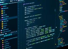 Исходный код программного обеспечения Программируя код Разделять кода css и php на экране компьютера, крупный план иллюстрация вектора