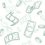 Исходящая наличность Doodle Идти дождь картина вектора денег безшовная Падая предпосылка долларов эскиза Стоковые Фото