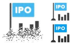 Исчезая значок диаграммы в виде вертикальных полос полутонового изображения IPO пиксела иллюстрация штока