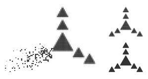 Исчезая значок треугольников направления полутонового изображения пиксела иллюстрация вектора