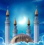 Исламские приветствуя карточки Eid Mubarak на мусульманские праздники Eid-Ul- Стоковые Изображения RF