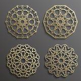 Исламский вектор орнамента, персидское motiff элементы картины 3d ramadan круглые Геометрический комплект шаблона логотипа кругов Стоковые Фотографии RF