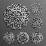 Исламский вектор орнамента, персидское motiff элементы картины 3d ramadan круглые Геометрический комплект шаблона логотипа кругов Стоковое Изображение
