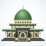 Исламское здание мечети с Green Dome изолировало на белой предпосылке