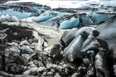Исландские взгляды - поднимающее вверх ледника близкое стоковое фото