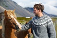 Исландские лошади - укомплектуйте личным составом petting лошадь на Исландии Стоковая Фотография RF