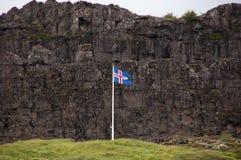 Исландский флаг в Thingvellir Стоковые Изображения