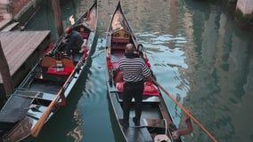 Италия, Венеция - февраль 2019: Гондола с 2 путешественниками и gondolier плавает, взгляд от моста видеоматериал