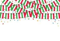 Италия сигнализирует предпосылку гирлянды белую с confetti бесплатная иллюстрация