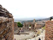 Италия, Сицилия, Taormina греческий театр стоковые изображения rf