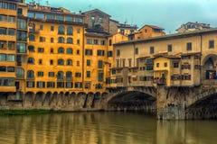 Италия, Флоренс, 03,01,2018 золотой мост Стоковая Фотография