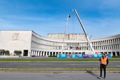 Италия rome 14-ое апреля 2018 Дороги района EUR закрытые подготавливают fo Стоковое фото RF