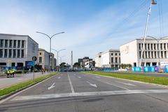 Италия rome 14-ое апреля 2018 Дороги района EUR закрытые подготавливают fo Стоковое Изображение RF