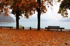 Италия, Trentino: Осень на озере Ledro в дождливом дне стоковое изображение