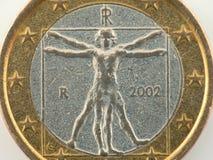 итальянка одно евро монетки worn Стоковое Изображение
