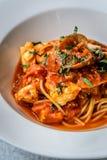 Итальянка marinara спагетти морепродуктов с clams и Стоковое Изображение RF