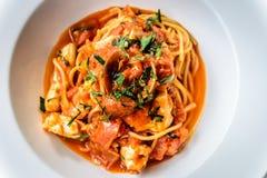 Итальянка marinara спагетти морепродуктов с clams и Стоковые Фото