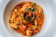 Итальянка marinara спагетти морепродуктов с clams и Стоковые Фотографии RF