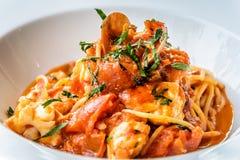 Итальянка marinara спагетти морепродуктов с clams и Стоковая Фотография