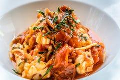 Итальянка marinara спагетти морепродуктов с clams и Стоковая Фотография RF