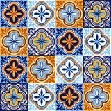 Итальянская картина керамической плитки Этнический фольклорный орнамент иллюстрация штока