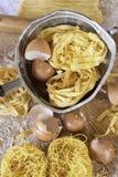 Итальянская кухня, макаронные изделия яичка tagliatelle Стоковое Фото