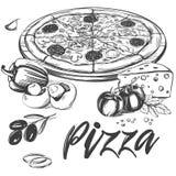 Итальянская пицца, собрание пиццы с ингридиентами, логотипа, руки нарисованный эскиз иллюстрации вектора реалистический Стоковая Фотография RF