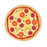 Итальянская пицца с томатом, сосиской Стоковые Фотографии RF