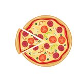 Итальянская пицца с томатом, сосиской Стоковые Фото