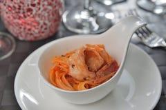 Итальянские креветки Tagliatelle морепродуктов Стоковое Изображение