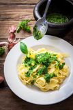 Итальянские свежие макаронные изделия Стоковое фото RF