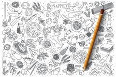 Итальянский комплект вектора doodle еды Стоковое Изображение