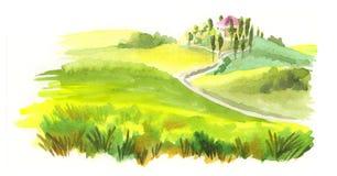 итальянский ландшафт изображение иллюстрации летания клюва декоративное своя бумажная акварель ласточки части иллюстрация вектора