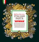 Итальянский плакат эскиза вектора макаронных изделий и спагетти бесплатная иллюстрация