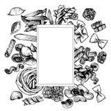 Итальянский эскиз вектора макаронных изделий Нарисованная рукой рамка макаронных изделий Стоковые Изображения