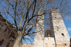 Италия, башни San Gimignano Стоковые Изображения RF