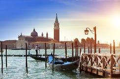 Италия Венеция Гондолы в канале большом Стоковое Изображение