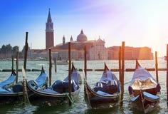 Италия Венеция Гондолы в канале большом Стоковые Фото