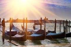 Италия Венеция Гондолы в канале большом Стоковая Фотография RF
