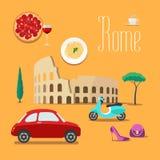 Италия и Рим vector иллюстрация, элемент дизайна, символы, значки иллюстрация штока
