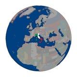 Италия на политическом глобусе Стоковое фото RF