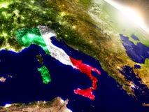 Италия с флагом в восходящем солнце Стоковые Изображения RF