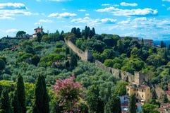 Италия, Флоренс, стена в лесе Стоковое Изображение