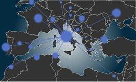 Италия центризовала карту Европы Стоковая Фотография