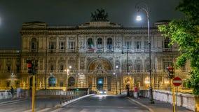 Италия rome Дворец timelapse ночи правосудия - здания здания суда с мостом Ponte Sant Umberto акции видеоматериалы