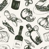 Итальянская еда - черно-белая рука нарисованная безшовная картина бесплатная иллюстрация