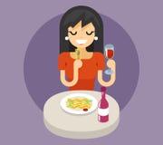 Итальянская концепция значка символа вина обедающего еды лапшей спагетти макаронных изделий Стоковое Изображение