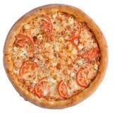 Итальянская пицца, взгляд сверху, изолированное на белой изолированной предпосылке Стоковое Изображение