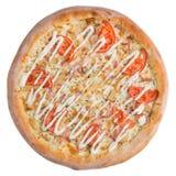 Итальянская пицца, взгляд сверху, изолированное на белой изолированной предпосылке Стоковое Изображение RF